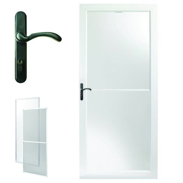 Andersen Storm Door 32u0027u0027 X 80u0027u0027 White Retractable Screen   8 Series Oil  Rubbed Bronze Left