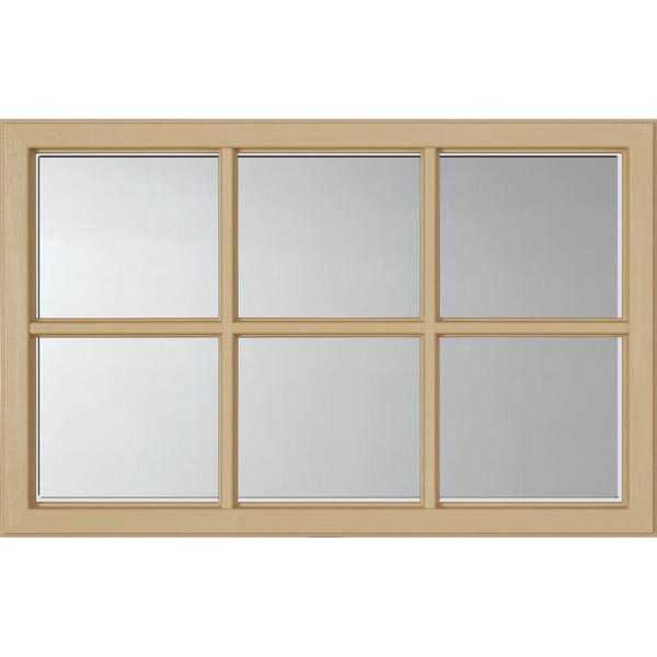 "ODL Clear Low-E Door Glass - 6 Light - 1 2 Simulated Divided Light - 27"" x 17.25"" Craftsman Frame Kit"