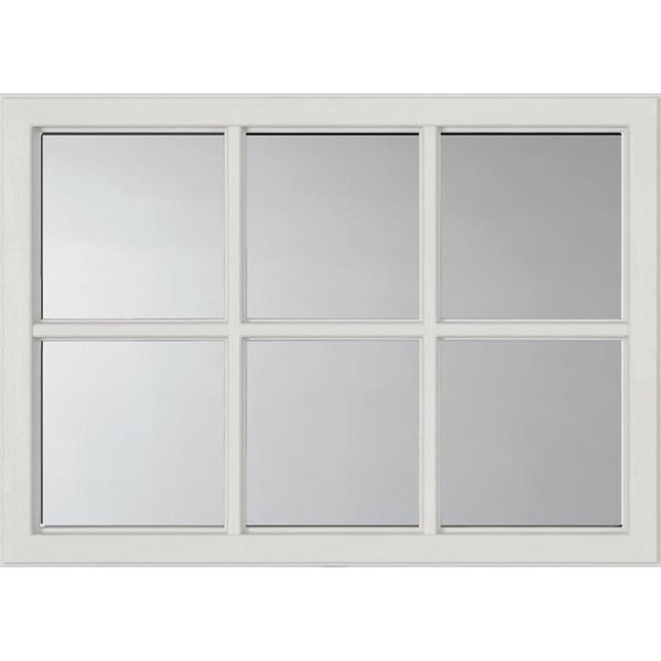 "ODL Clear Door Glass - 6 Light External Grille - 24"" x 17.25"" Craftsman Frame Kit"