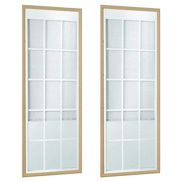 Odl enclosed blinds patio double door set low e glass triple odl enclosed blinds patio double door set low e glass triple pane 15 light internal grille 24 x 66 frame kit planetlyrics Image collections