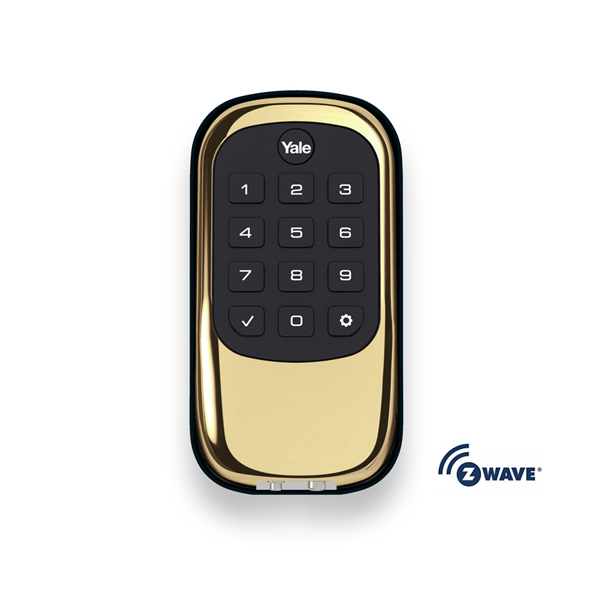 Yale Real Living Push Button Z-Wave Key Free Deadbolt - Polished Brass