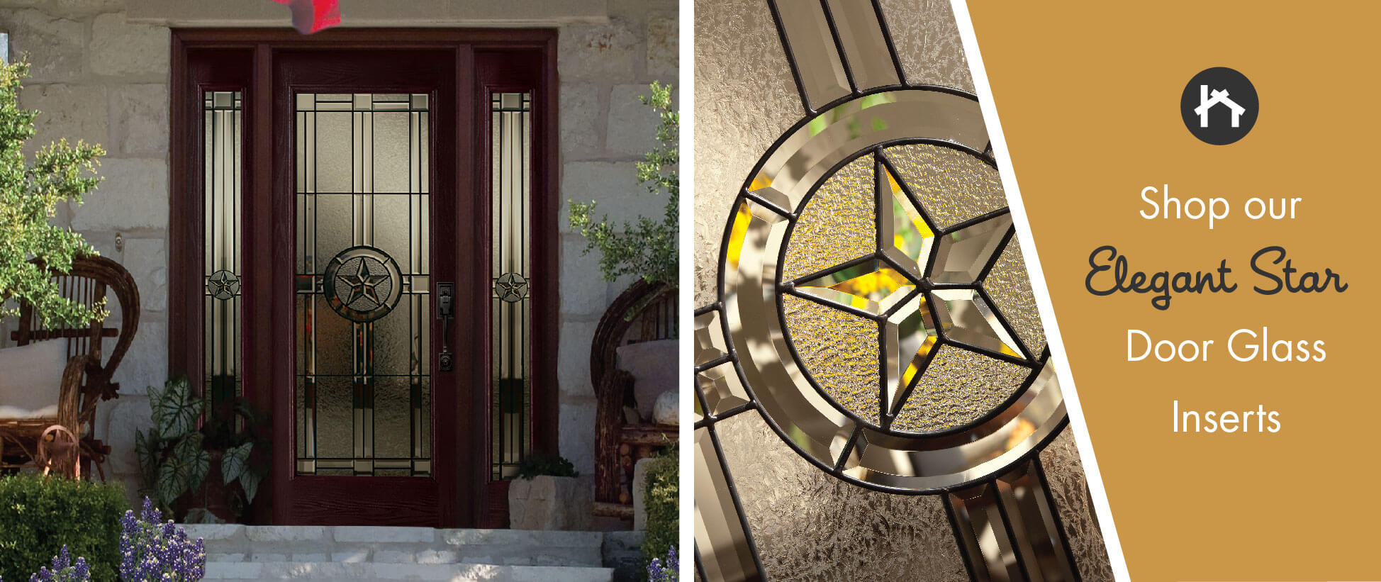Texas Star Decorative Door Glass Inserts | ODL Elegant Star | Zabitat