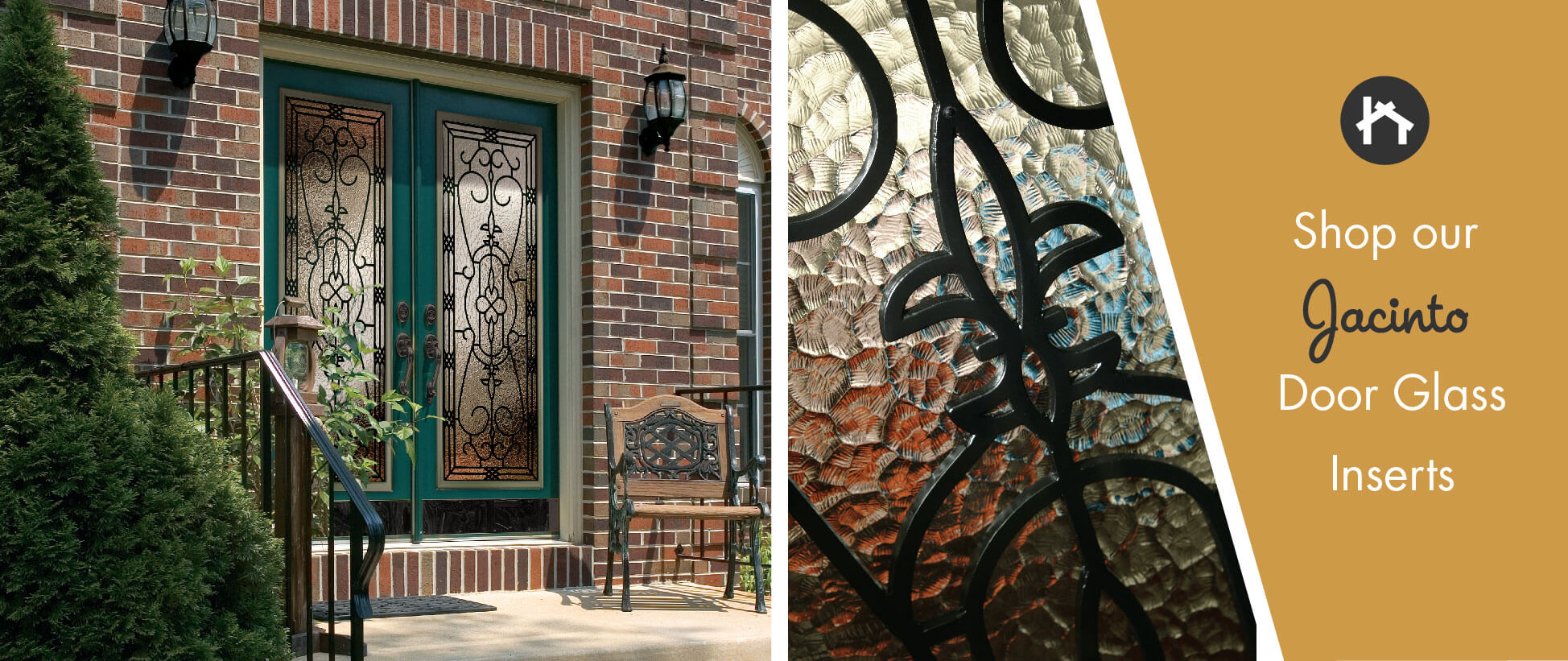 French Style Door Glass Inserts With Wrought Iron Odl Jacinto